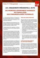 LES « ENGAGEMENTS PRÉSIDENTIELS » DU FN DES PROMESSES APPAREMMENT FAVORABLES AUX TRAVAILLEURS MAIS FONDAMENTALEMENT PATRONALES