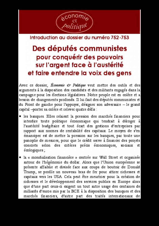 Des députés communistes pour conquérir des pouvoirs sur l'argent face à l'austérité et faire entendre la voix des gens
